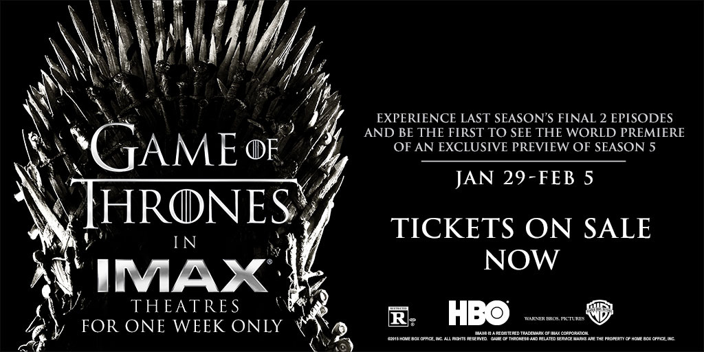 Imax Of Thrones Season 5 Trailer Gets An R Rating